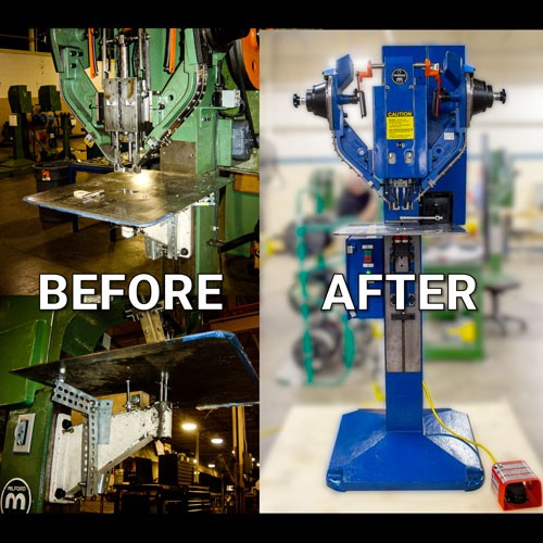 Before and after photos of a Factory Remanufactured Impact Riveter